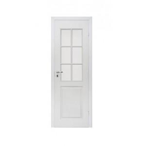 ОЛОВИ Дверное полотно однопольное с четвертью филенчатое крашеное со стеклом L6 Каспиан : фото из каталога stroymat.msk.ru