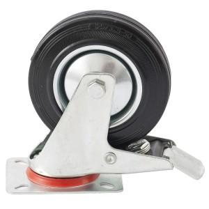 Колесо поворотное с тормозом d-200мм, крепление платформенное // СИБРТЕХ : фото из каталога stroymat.msk.ru